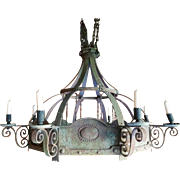 Large Antique Country French Wrought Iron 8 Light Chandelier