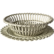 Antique Wedgwood Twig Fruit Basket with Stand