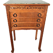 Antique French Hand-Carved Nutwood Side Table / Cabinet with Marble Top & Interior