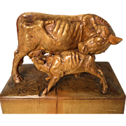 Rare Carved Group of Cows from the Model by PIERRE-JULES MÊNE, Late 19th Century