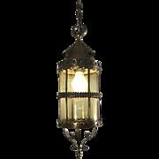 Arts & Crafts Bronze, Brass and Glass Pendant Light, Lantern