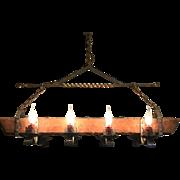 Large Wrought Iron & Oak Wood 8 light Castle Chandelier