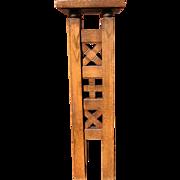Large Vintage, Handcrafted Oak Column Display Pedestal Table