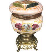 Antique French Rose Opaline Glass Casket Box Hand Painted Enamel Decor