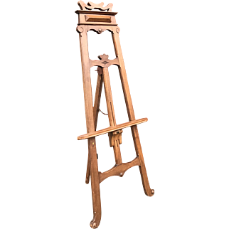 Hand-Crafted Wooden Arts & Crafts Period Floor Easel or Artist Display Painting Stand