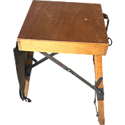 Unique Vintage Wooden Folding Stool for Street Painter / Artist