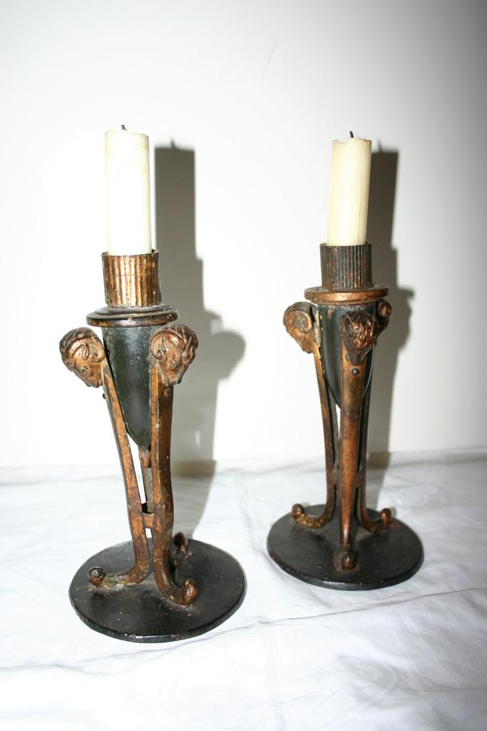 An Antique Pair Candelabras Candle Sticks with Ram Heads