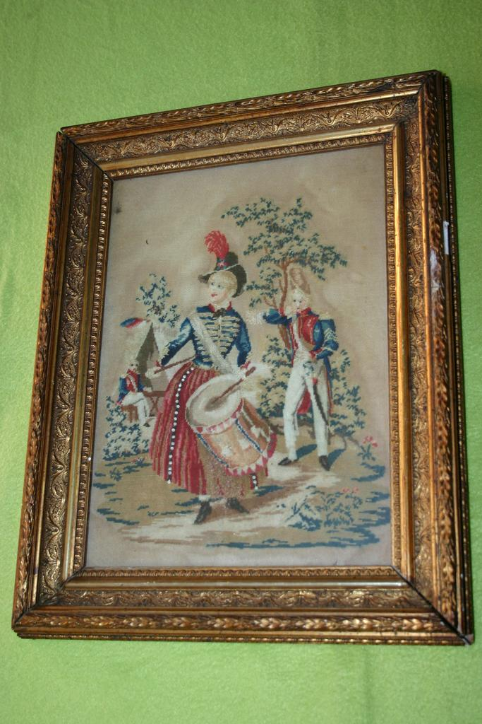 An Antique Framed Needle Work Picture after Glass, 18thC