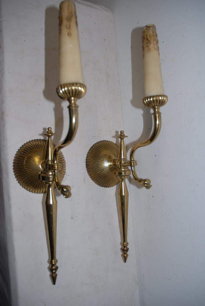 An Old Pair Bronze 1 Light Wall Sconces