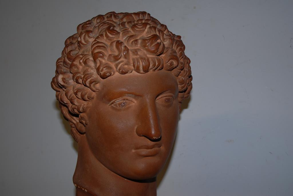 Vintage Art Roman Head on a Wooden Base, David from Michelangelo