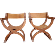 An Old Pair Wooden(oak) Renaissance Style X Frame Chairs