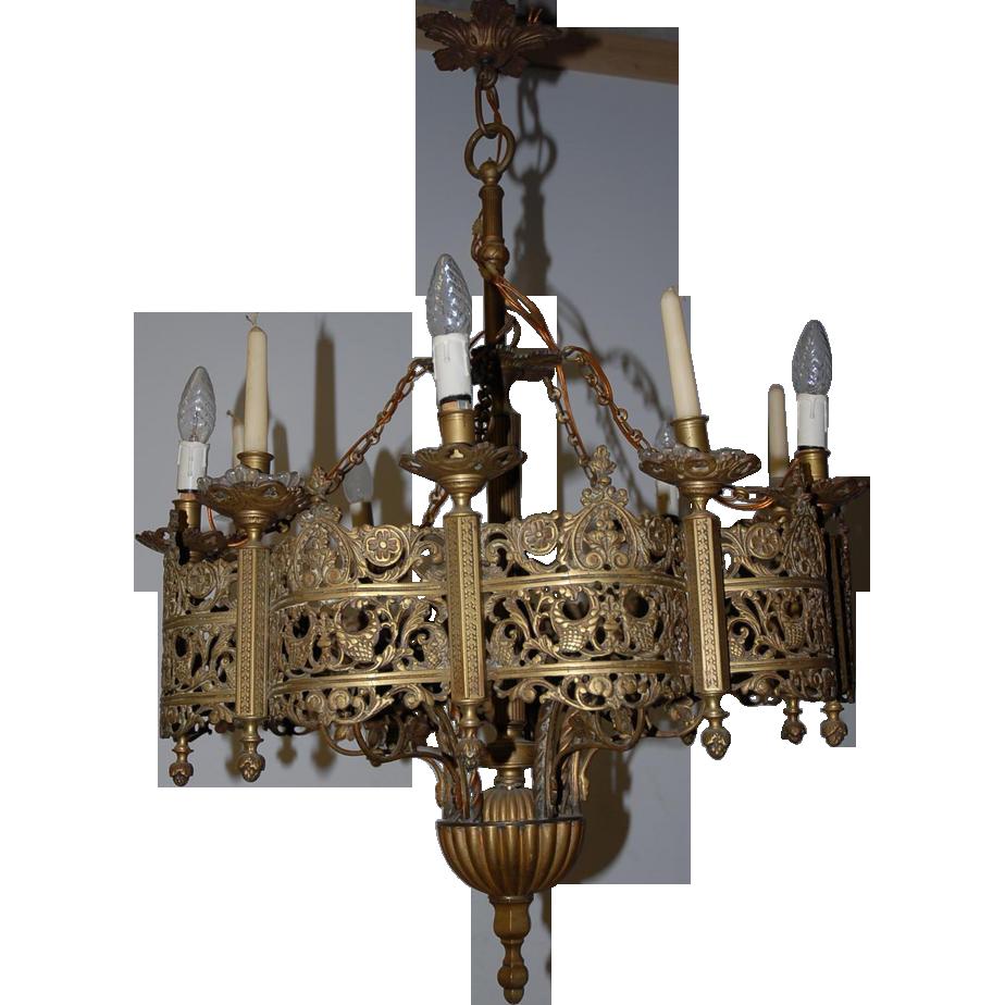 sold to Dr. Rolph -- A Huge Antique Bronze 6-light + 6-candle Gothic SOLD |  Ruby Lane - Sold To Dr. Rolph -- A Huge Antique Bronze 6-light + 6-candle