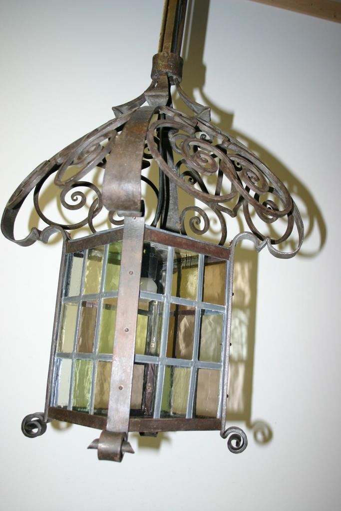 Huge Quality Scrolled Wrought Iron w. Stained Glass Lantern Fixture