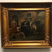 A Beautiful Antique French Fine Oil Painting with soldiers on wooden panel in frame