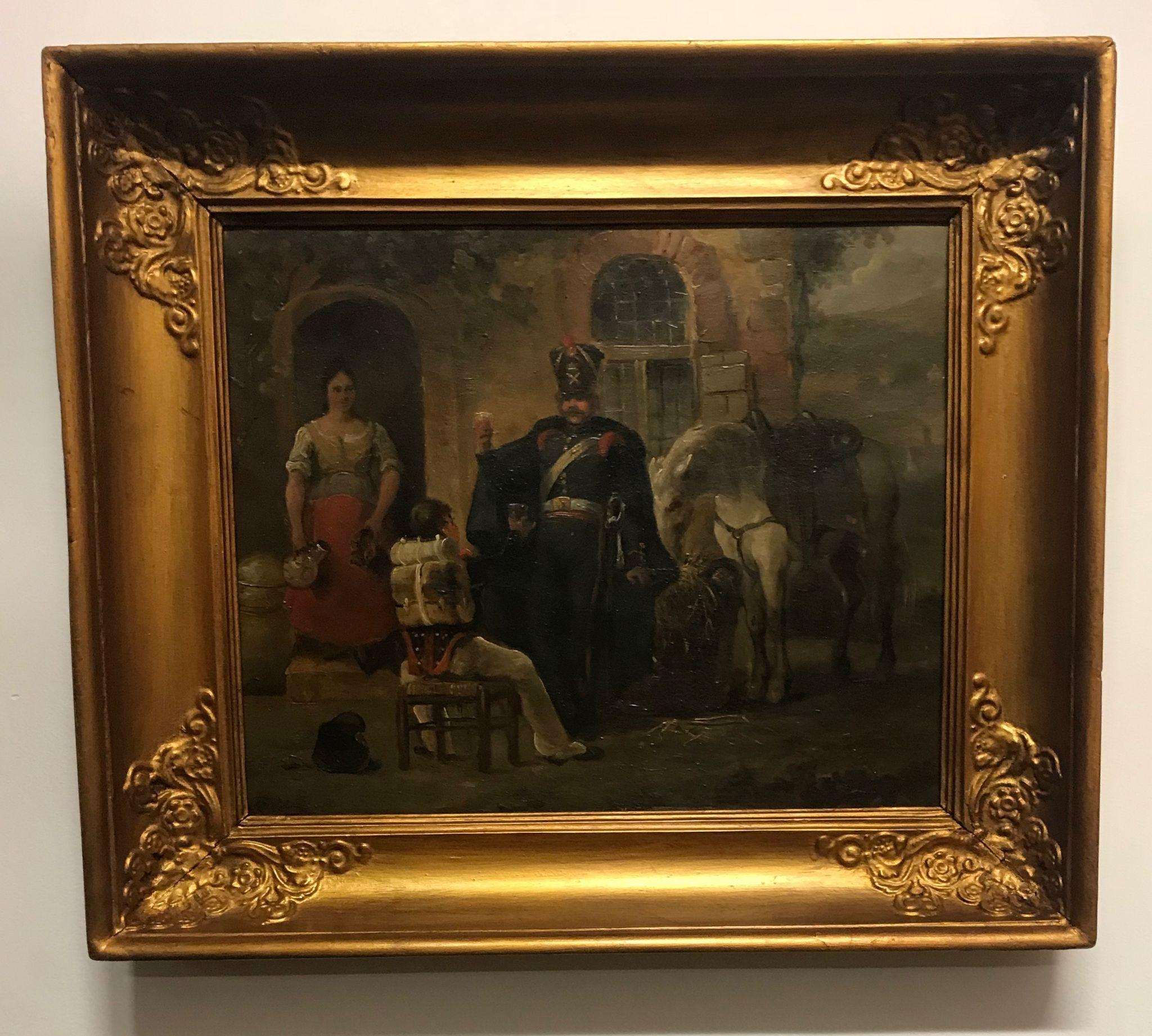 Antique French Fine Oil Painting with Soldiers on Wooden Panel in Frame