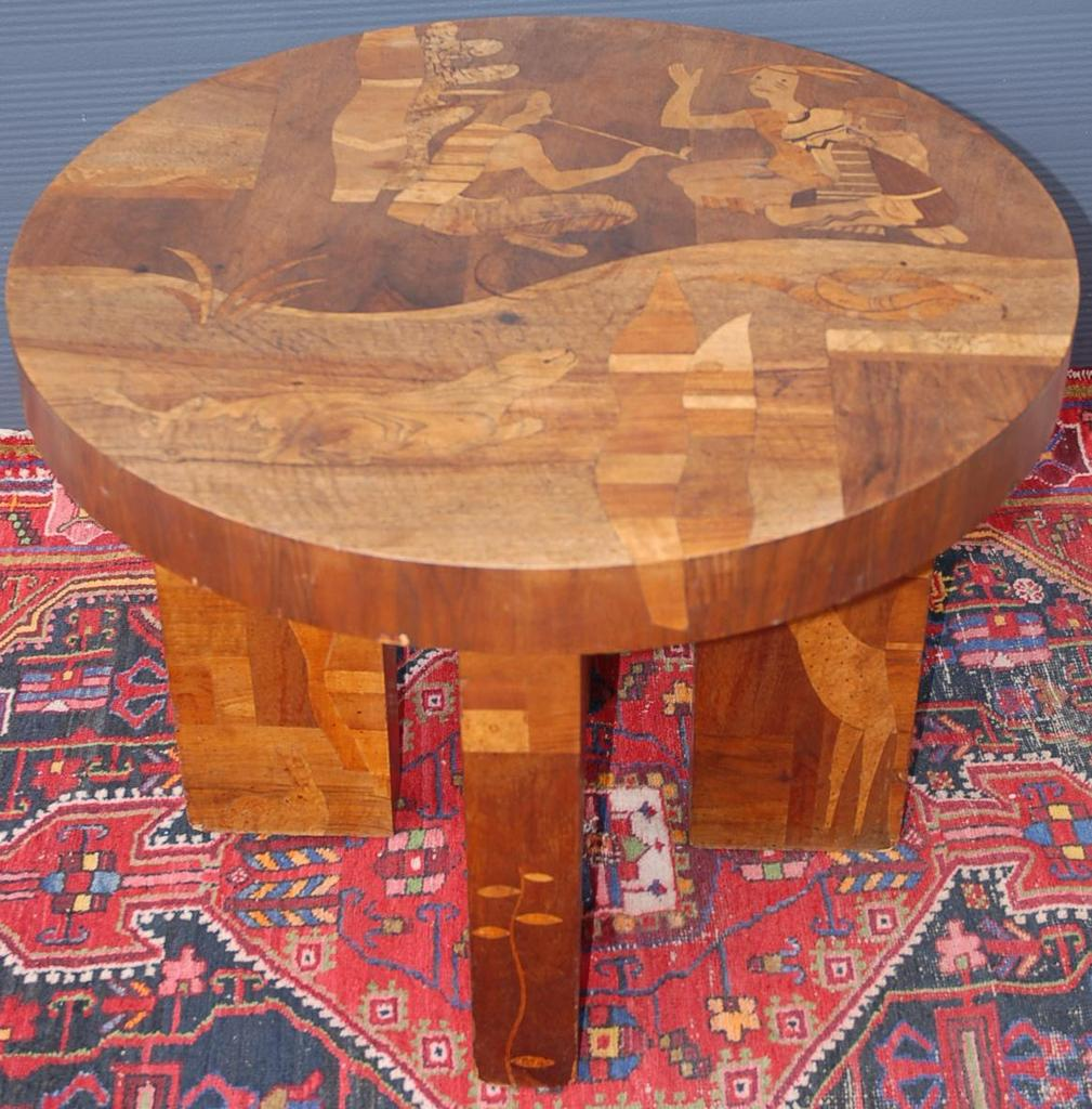 A Rare Antique Marquetry Inlaid Wooden Coffee Table, with cowboy, Indian  Scene - A Rare Antique Marquetry Inlaid Wooden Coffee Table, With Cowboy