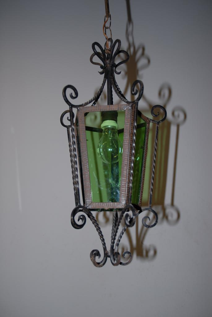 A French Antique Wrought Iron / Glass Lantern
