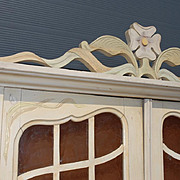 French Art Nouveau Flowery Scrolled Carved - Painted Wardrobe