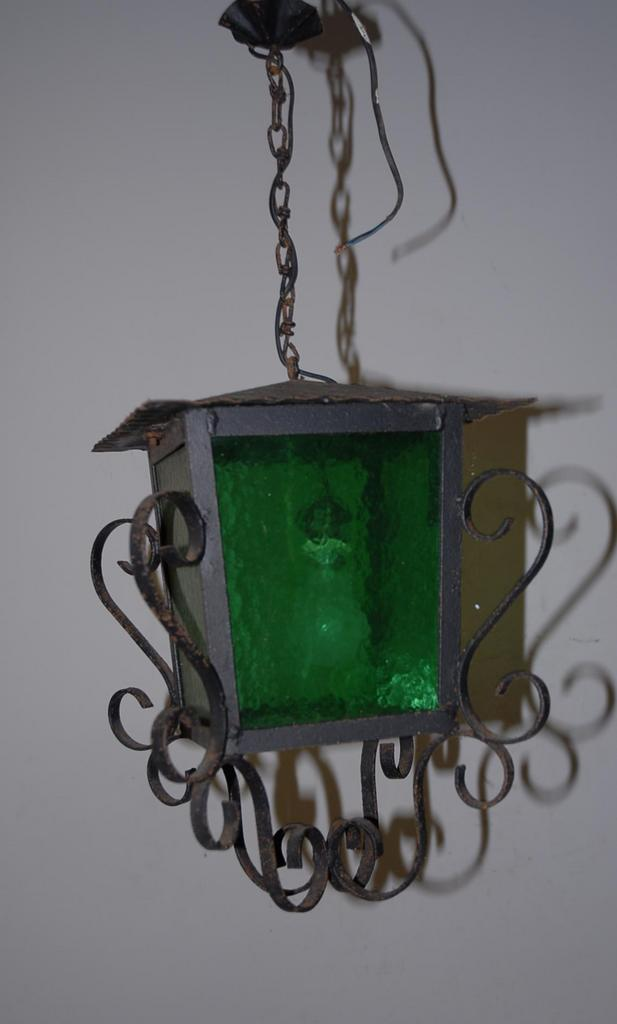 A French Antique Wrought Iron Glass Lantern