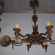A Large Antique Quality Floral Wrought Iron 6 light Chandelier