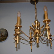 An Old Bronze 6 light Chandelier