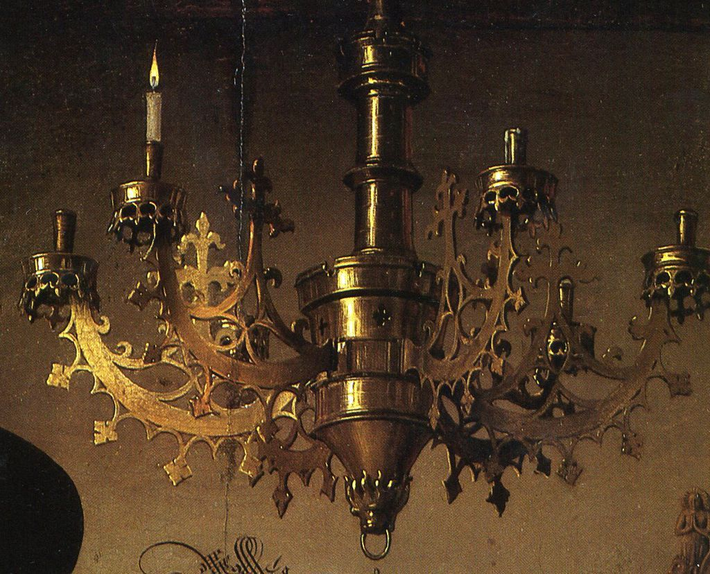 An Old Exclusive Brass Gothic Art 9-light Chandelier