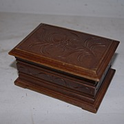 An Antique Carved Wood Black Forest Jewelry Box