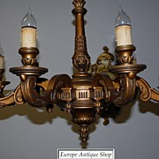 A Huge French Antique Carved Wood Gilded 9-light Chandelier