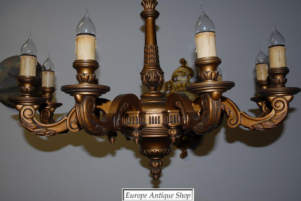A Huge French Antique Carved Wood Gilded 9-light Chandelier - A Huge French Antique Carved Wood Gilded 9-light Chandelier From