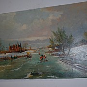 A Lovely Vintage Painting on Canvas, Winter Landscape
