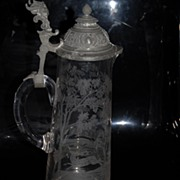 A Vintage Large Glass Can , Engraved with Hunting Scene