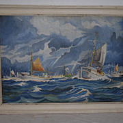 Beautiful Oil on Canvas Seascape Painting in Wooden Frame