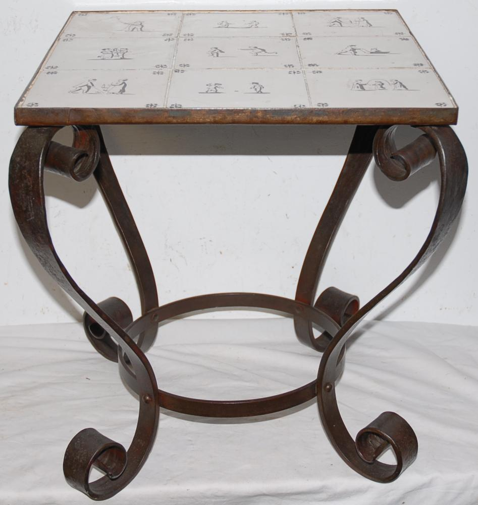 An Antique Scrolled Wrought Iron Table with 9 Antique Painted Tiles(19thC.) on the top