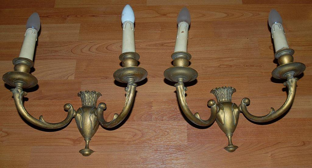Quality Wall Sconces : A Pair Art Nouveau Quality Bronze 2-light Wall Sconces from europeantiqueshop on Ruby Lane