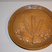 A Vintage carved Wood Bread Wall Plate