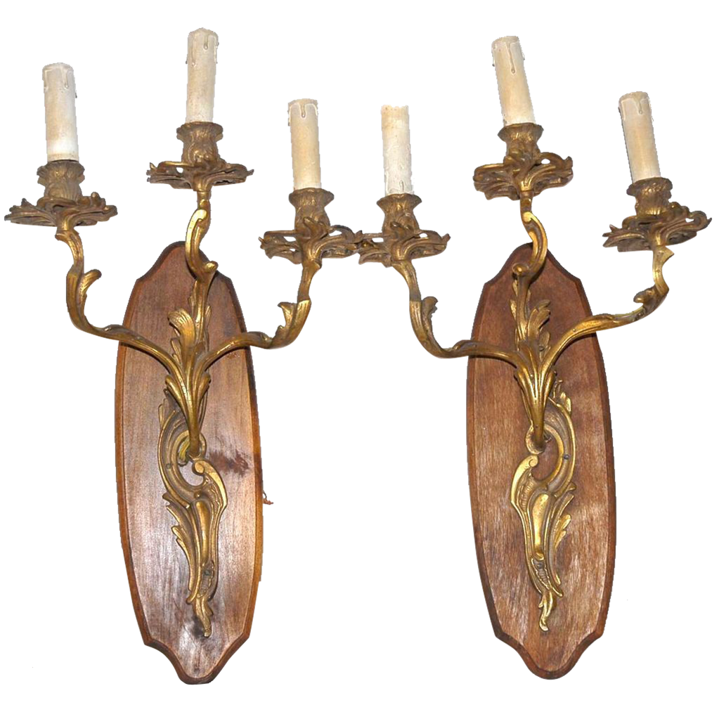 A French Pair Bronze louis XVI Style 3-light Wall Sconces