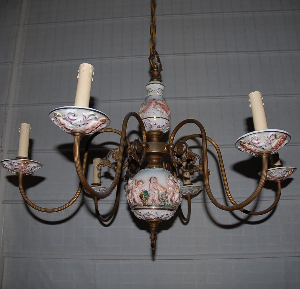 A Copper / Porcelain Figural(putti) 6-light Chandelier