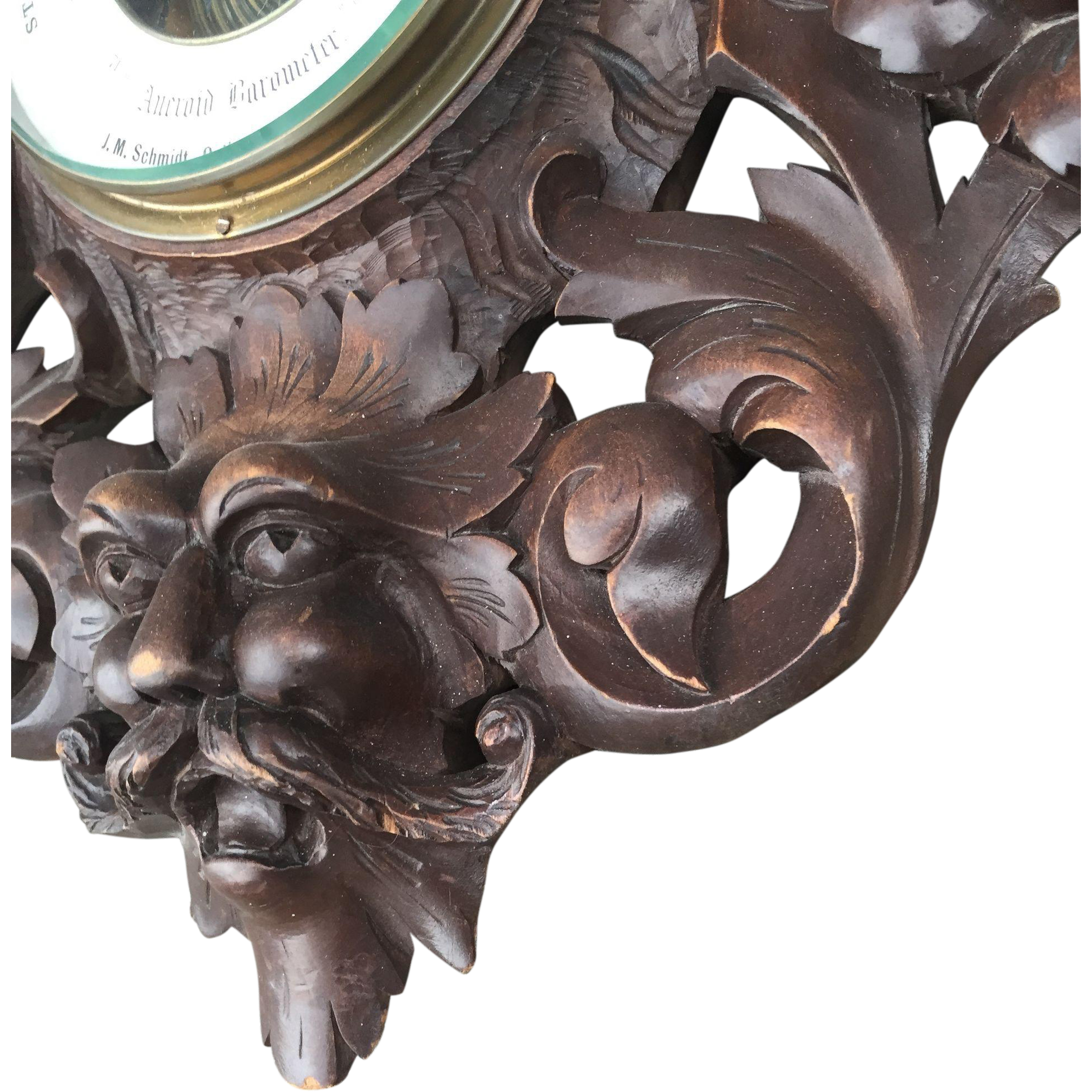 Huge Wooden Figural Wall Barometer with Putti - Koi Fish Design