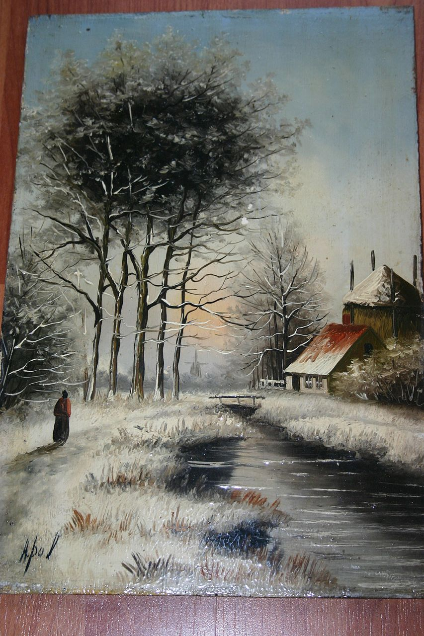An Antique Painted Winter Landscape on Wooden(oak) Panel