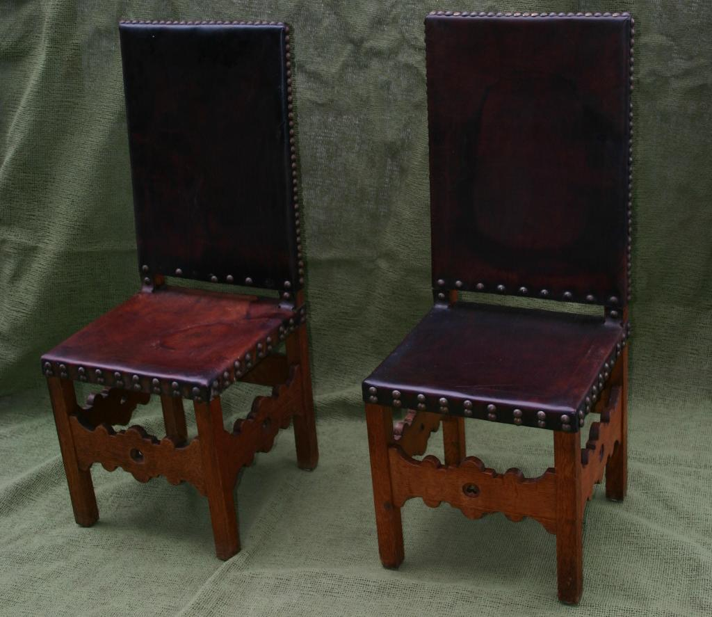 Pair Spanish wooden Leather Chairs