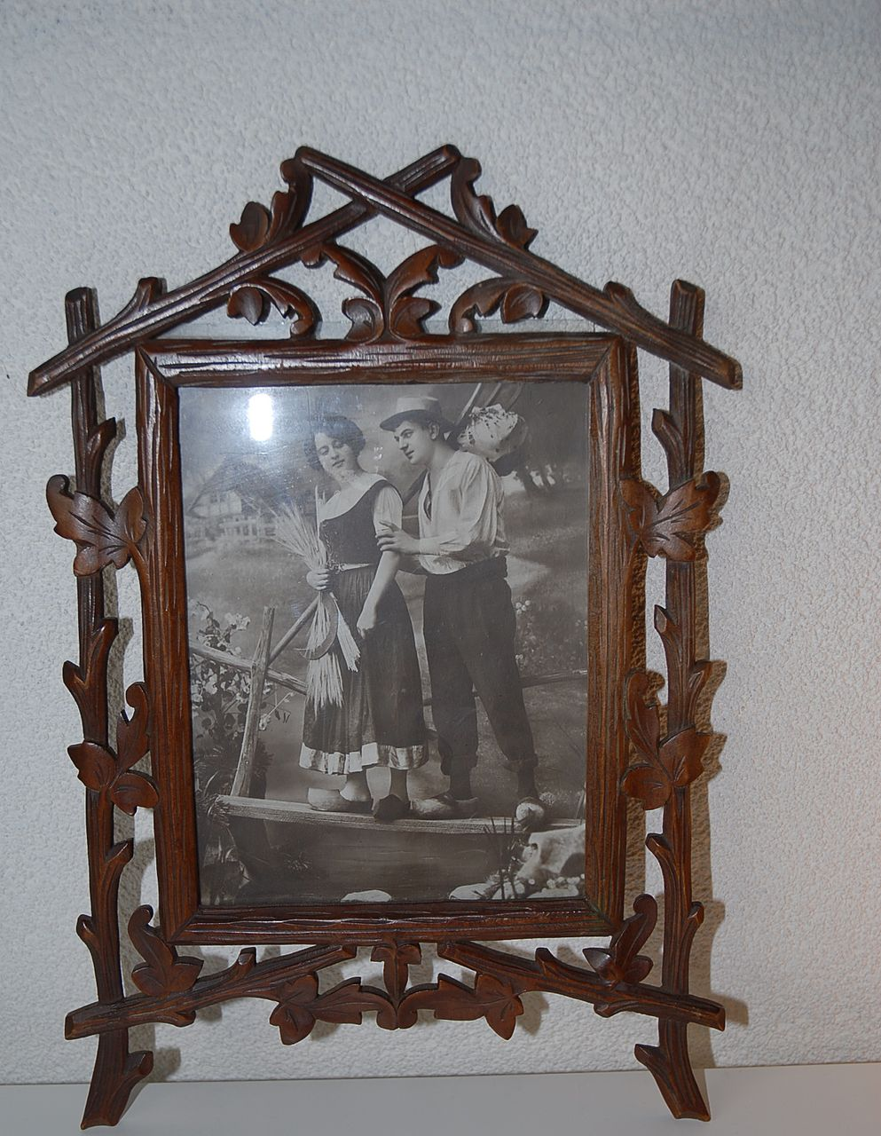 Vintage Black Forest Wooden Picture Frame