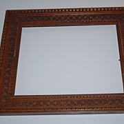 An Antique Fine Carved Wood(walnut) Gothic Art Picture Frame