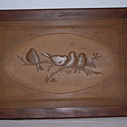 An Antique Fine Carved Wood Group of Birds in Frame