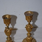 A Lovely French Pair Antique Bronze Single Light Candlesticks