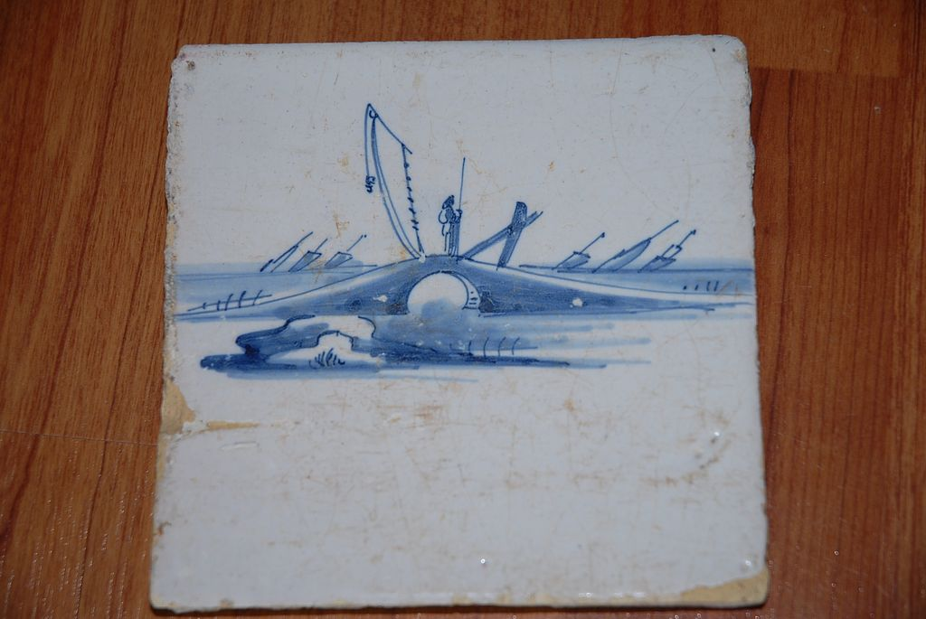 An Antique Porcelain Delft Blue Tile