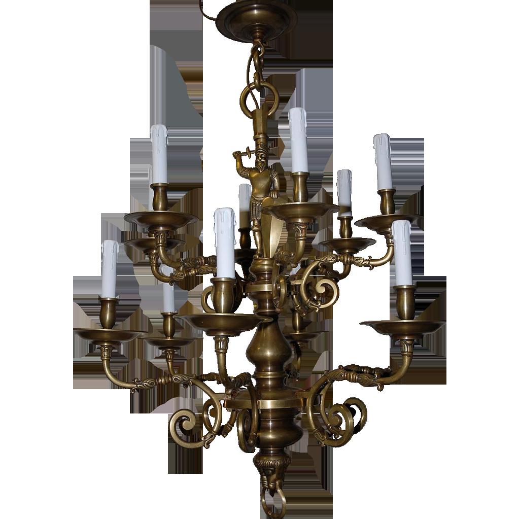 Beautiful Antique Bronze Figural 2-tier, 12-light Chandelier