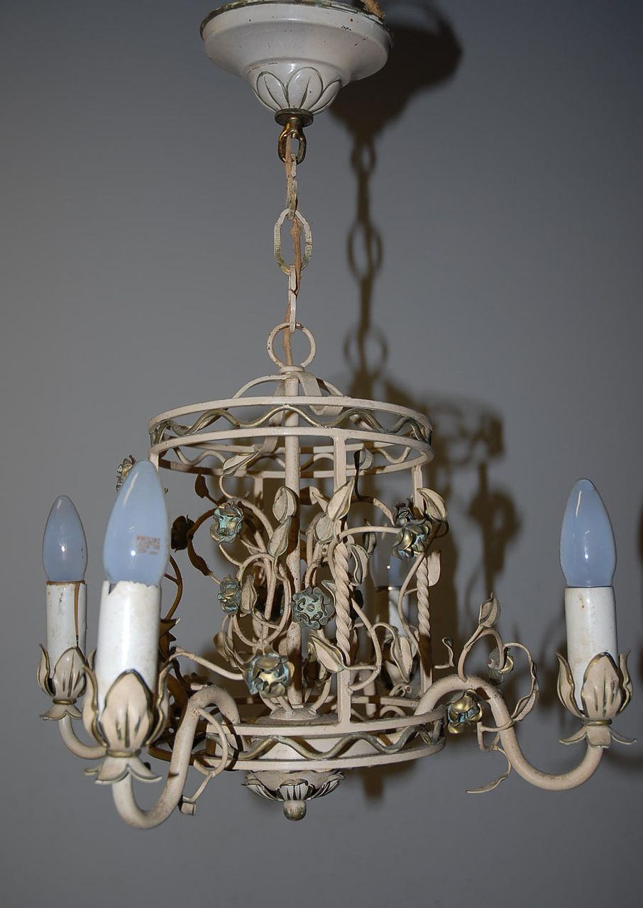 A Vintage Tole Ware White Painted 4-light Chandelier