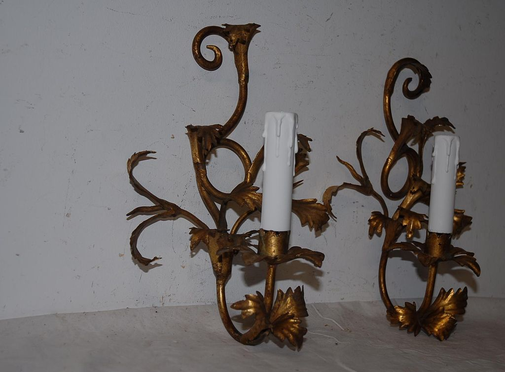 An Antique Italian Pair Toleware 1-light Wall Sconces from europeantiqueshop on Ruby Lane