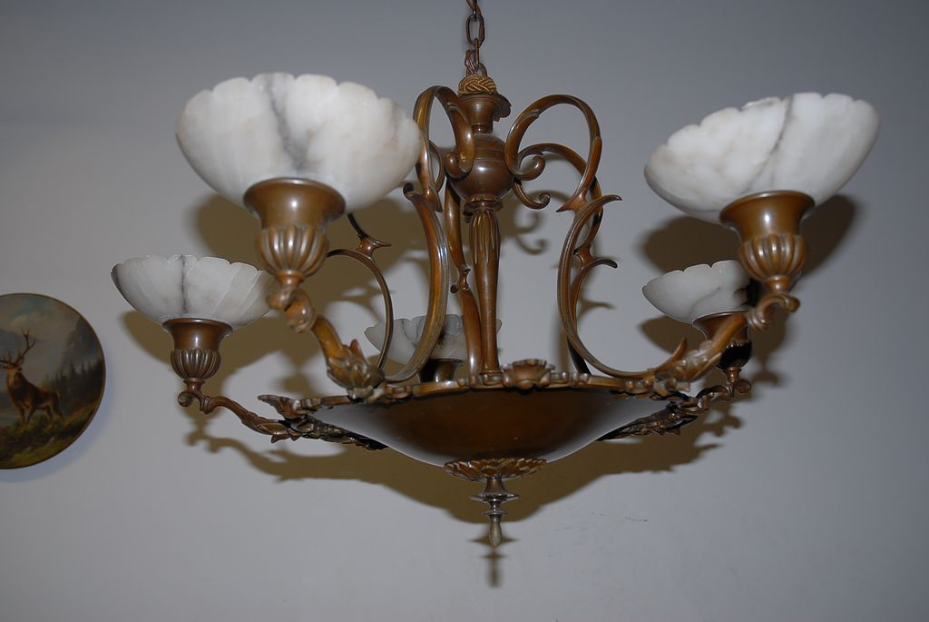 A Beautiful Bronze 5-light Chandelier with Alabaster Shades