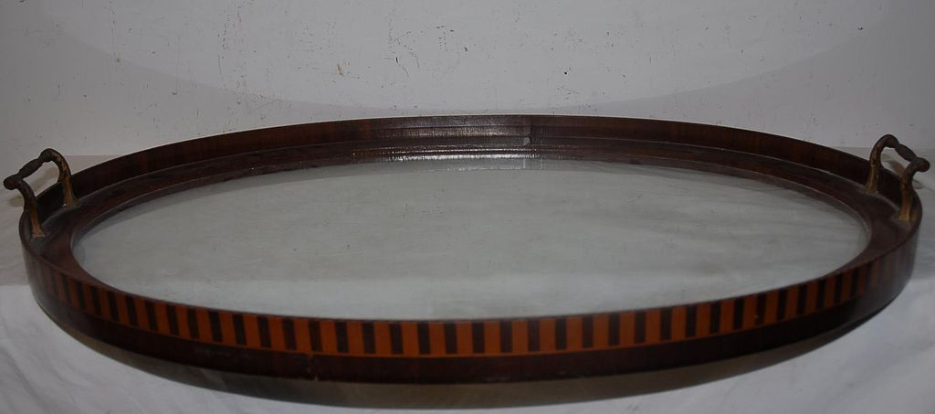 An Antique Quality Wooden/Glass Inlaid Tray